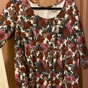 3/4 sleeve fit and flare roses floral